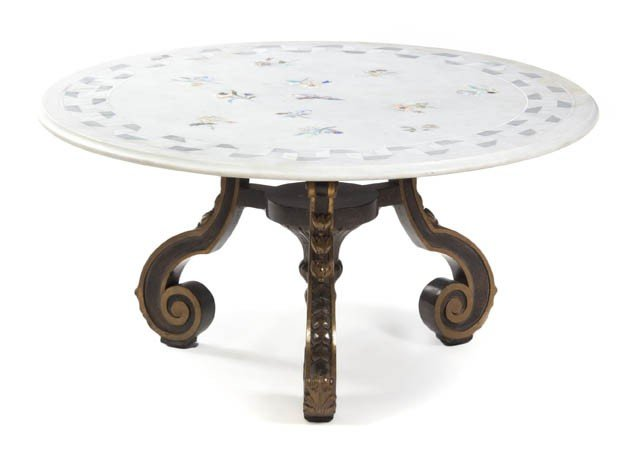 2337: A Continental Painted and Parcel Gilt Low Table,