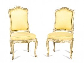 2338: A Pair of Louis XV Style Painted Side Chairs, Hei