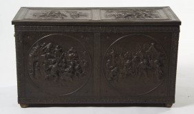 2345: A Continental Pressed Copper Kindling Box, Height