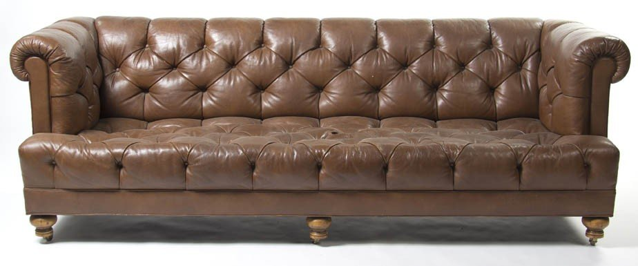 2346: A Leather Upholstered Sofa, Height 29 x width 82