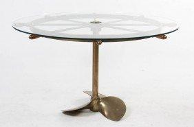2349: A Brass Ship Wheel Kitchen Table, Diameter 51 inc