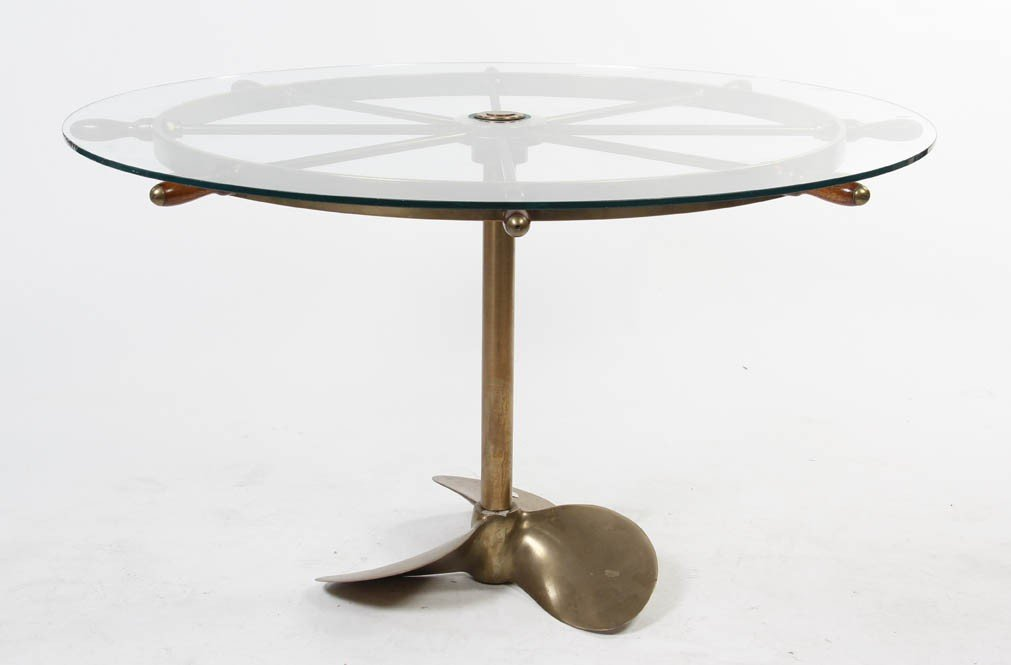 2349: A Brass Ship Wheel Kitchen Table, Diameter 51 inc