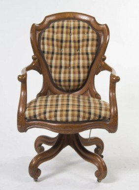 A Victorian Desk Chair, Height 37 Inches.
