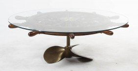 2351: A Brass Ship Wheel Coffee Table, Diameter 51 inch