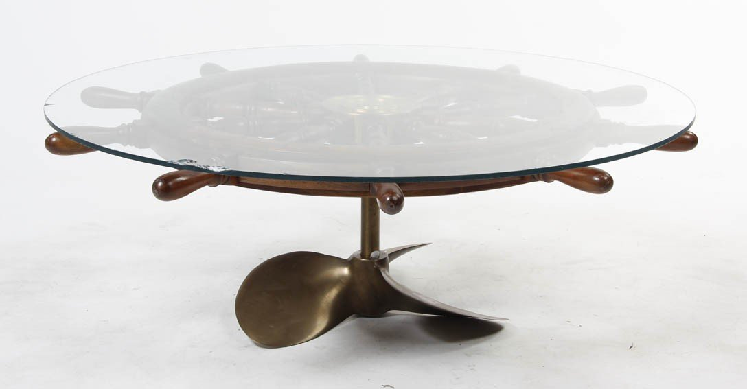 2351: A Brass Ship Wheel Coffee Table, Diameter 51 inch