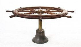 2352: A Brass Ship Wheel Dining Table, American Enginee