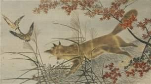A Japanese Woven Silk Panel, Height 22 1/2 x widt