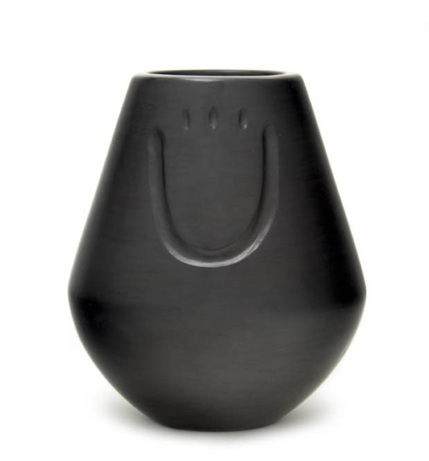 22: A Santa Clara Blackware Vase, Height 6 x diameter 5