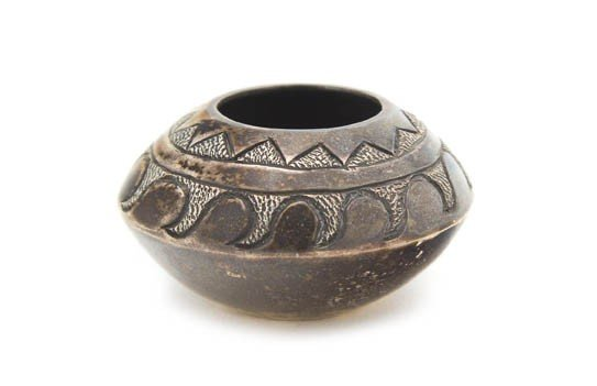 27: A Hopi Sterling Silver Bowl, Height 3/4 x diameter