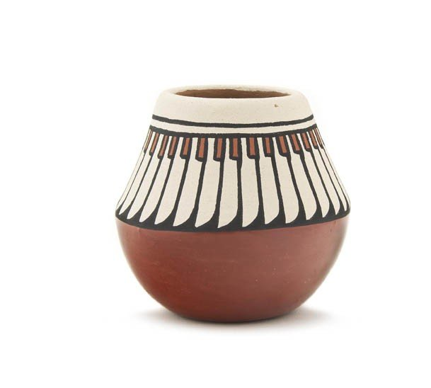103: A Santa Clara Redware Polychrome Jar, Height 3 1/2