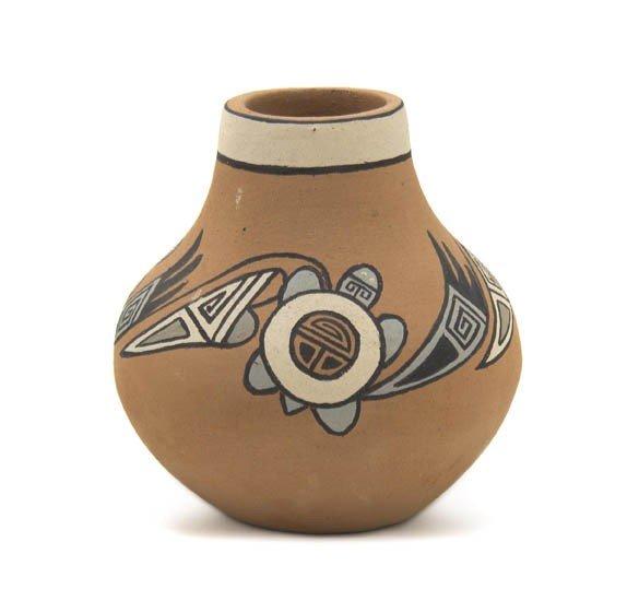 107: A Pojaque Miniature Polychrome Jar, Height 3 3/4 x