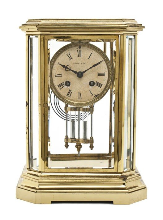 1: An American Brass and Glass Carriage Clock, Tiffany