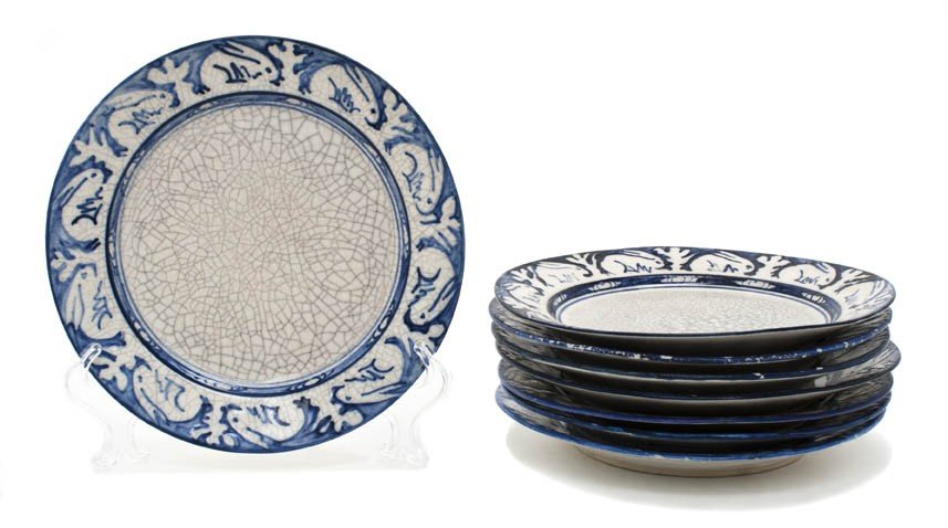 4: A Collection of Eight Dedham Pottery Plates, Diamete