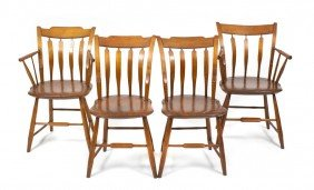 A Set Of Four American Windsor Chairs, Height 33 1/