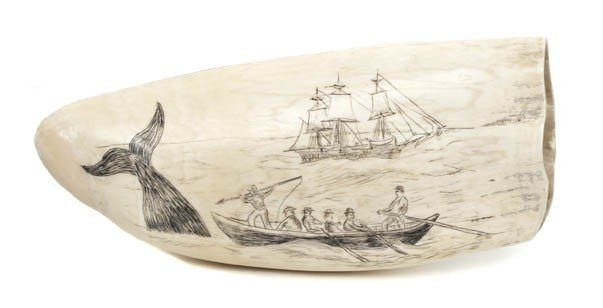 18: An American Scrimshaw Whale's Tooth, Length 5 3/4 i