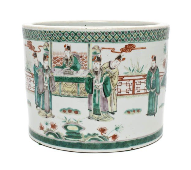 318: A Chinese Famille Verte Porcelain Brushpot, Height