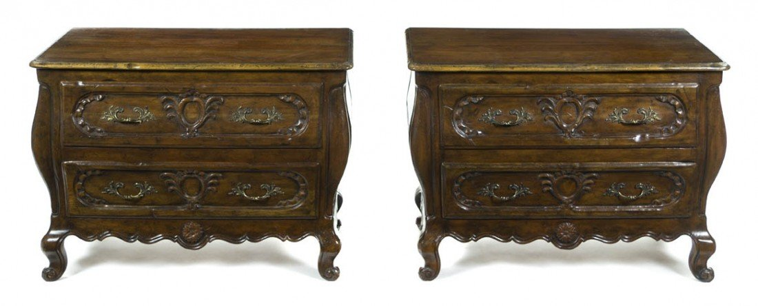2001: A Pair of French Walnut Commodes, Height 25 x wid