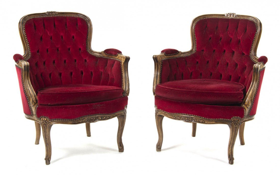 2003: A Pair of Louis XV Style Bergeres, Height 31 inch