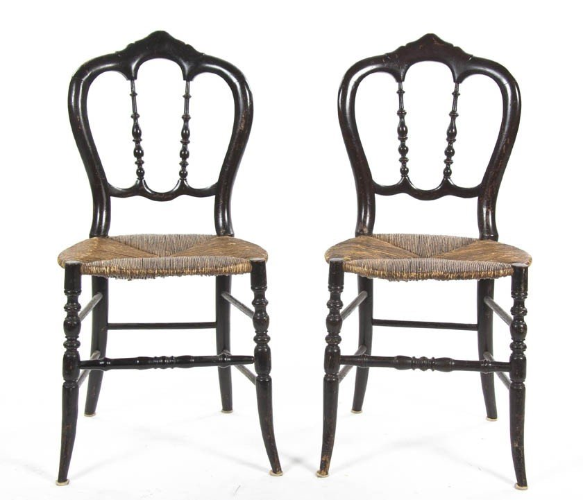 2007: A Pair of Victorian Lacquered Side Chairs, Height