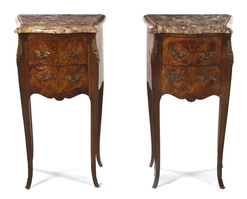 2012: A Pair of Louis XV Style Marquetry Side Tables, H