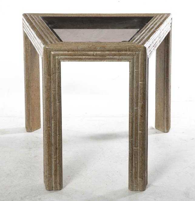 2020: A Contemporary Faux Bamboo Veneered Side Table, H