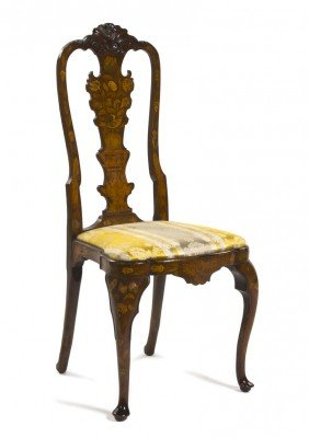 A Dutch Queen Anne Style Marquetry Side Chair, He