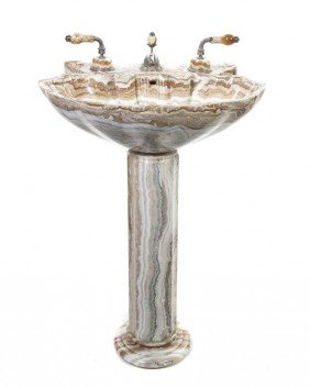 A Contemporary Onyx Pedestal Sink, Sherle Wagner,