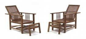 A Pair Of American Oak Morris Chairs, Height 39 X