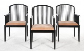 A Set Of Three Andover Lacquered Chairs, Davis Al