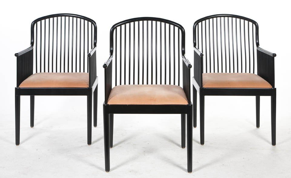 2074: A Set of Three Andover Lacquered Chairs, Davis Al