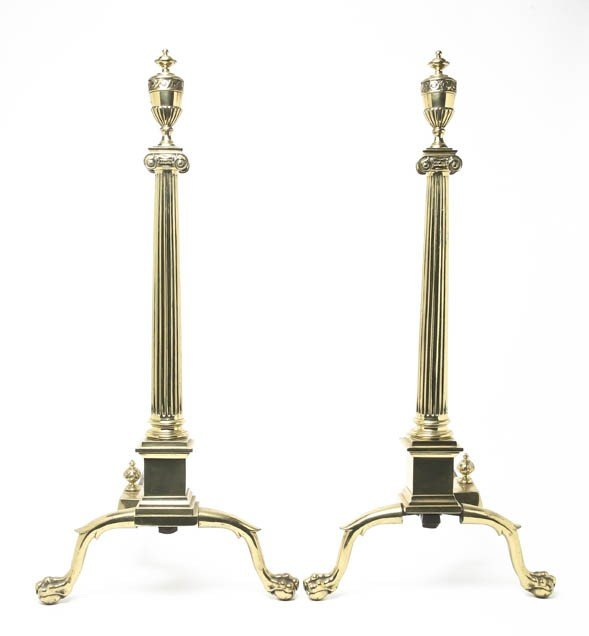 2078: A Pair of Neoclassical Brass and Iron Andirons, H