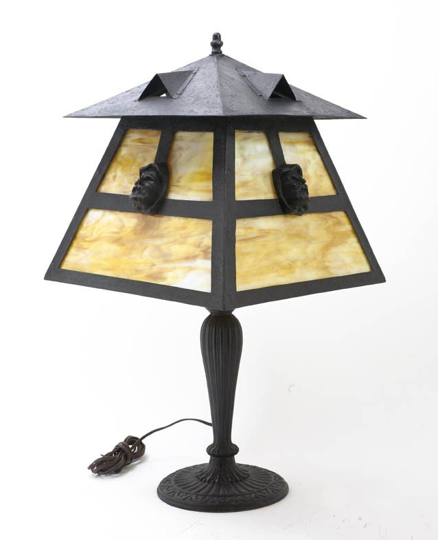 2084: An American Slag Glass Table Lamp, Height overall
