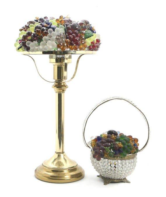 2097: An Eastern European Beaded Glass Table Lamp, Heig