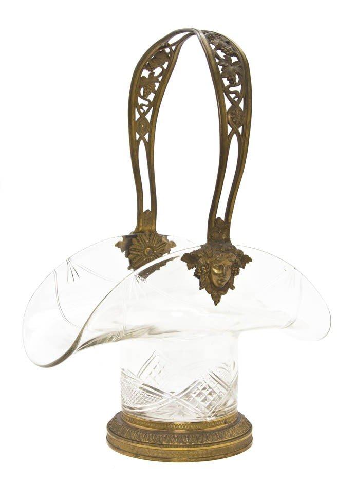 2113: A Cut Glass and Gilt Bronze Mounted Basket, Heigh