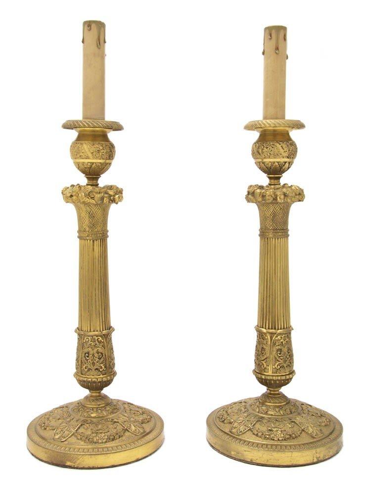 2114: A Pair of Neoclassical Gilt Bronze Candlestick La