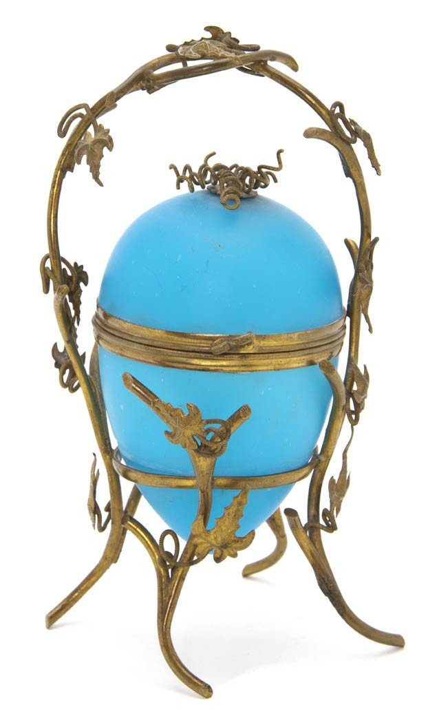 2115: An Opaline Glass and Gilt Metal Mounted Box, Heig