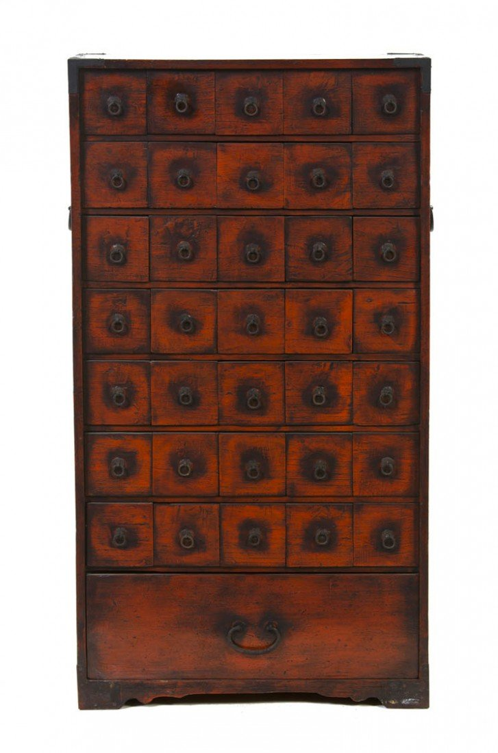 2423: A Chinese Red Lacquered Apothecary Chest, Height