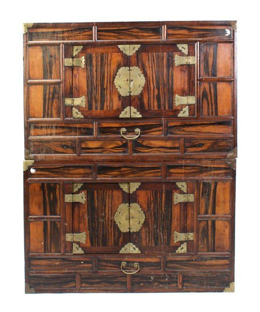 2424: A Pair of Brass Mounted Tansu Chests, Height 21 x