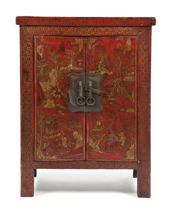 2425: A Chinese Lacquered Cabinet, Height 35 3/4 x widt