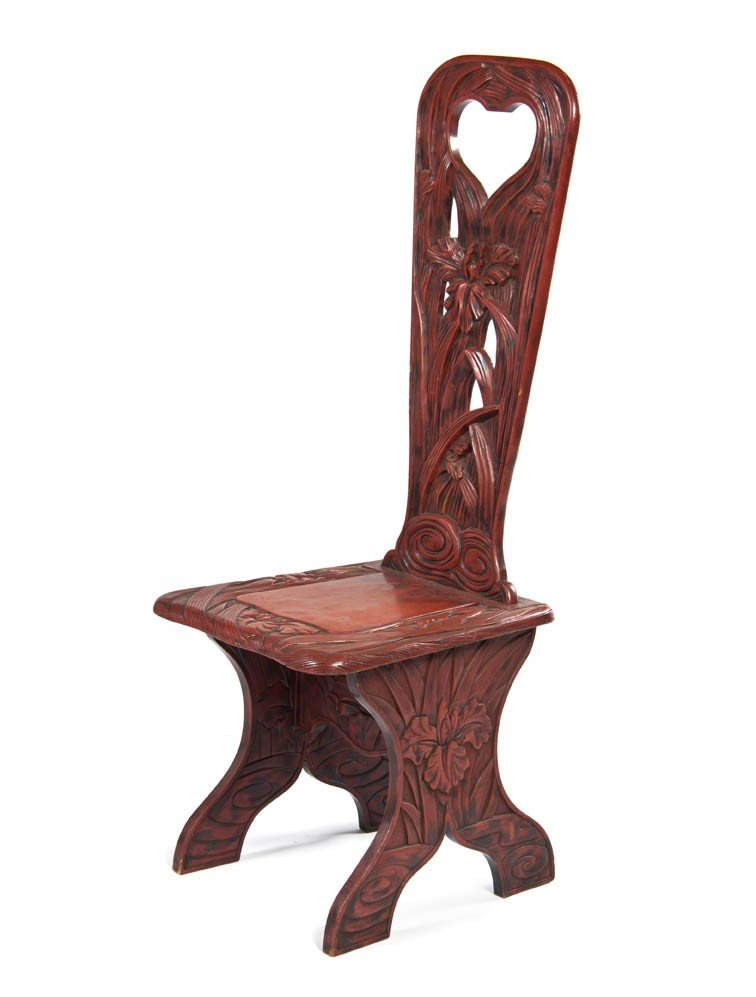 2427: A Chinese Lacquered Side Chair, Height 47 inches.