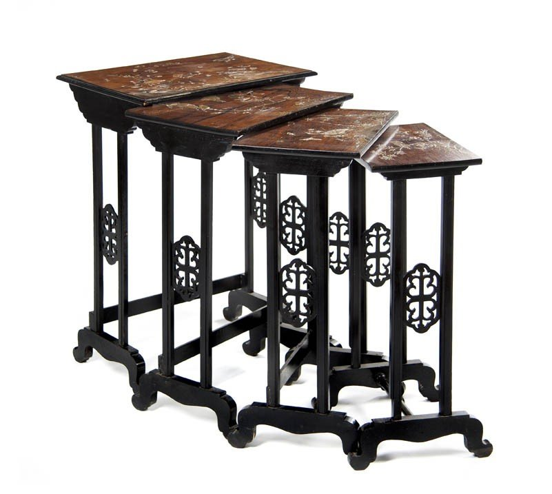 2428: A Set of Four Chinese Inlaid Nesting Tables, Heig