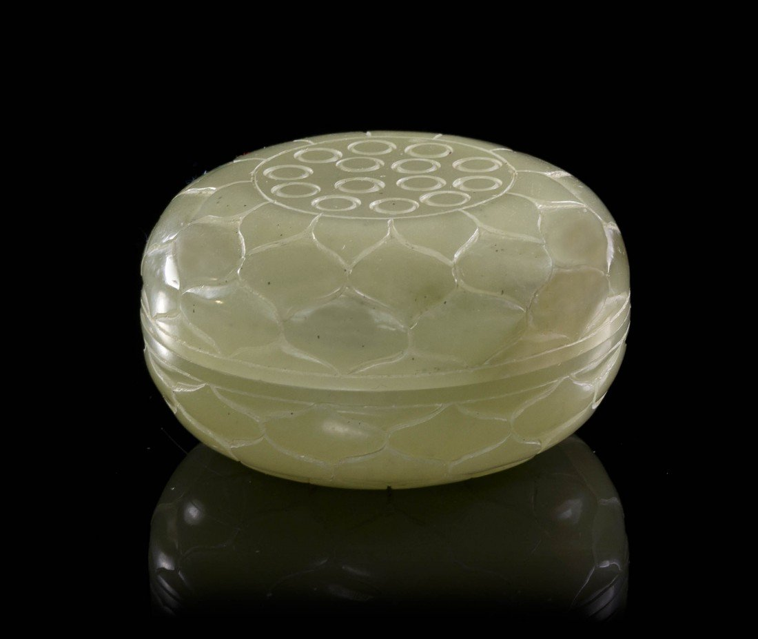 2441: A Carved Jade Circular Box, Diameter 2 1/8 inches