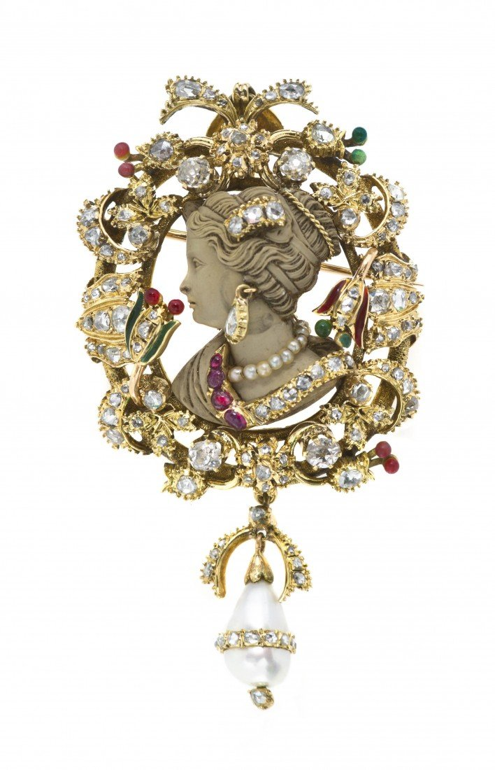 1: A Yellow Gold, Diamond, Ruby, Pearl, Enamel and Carv