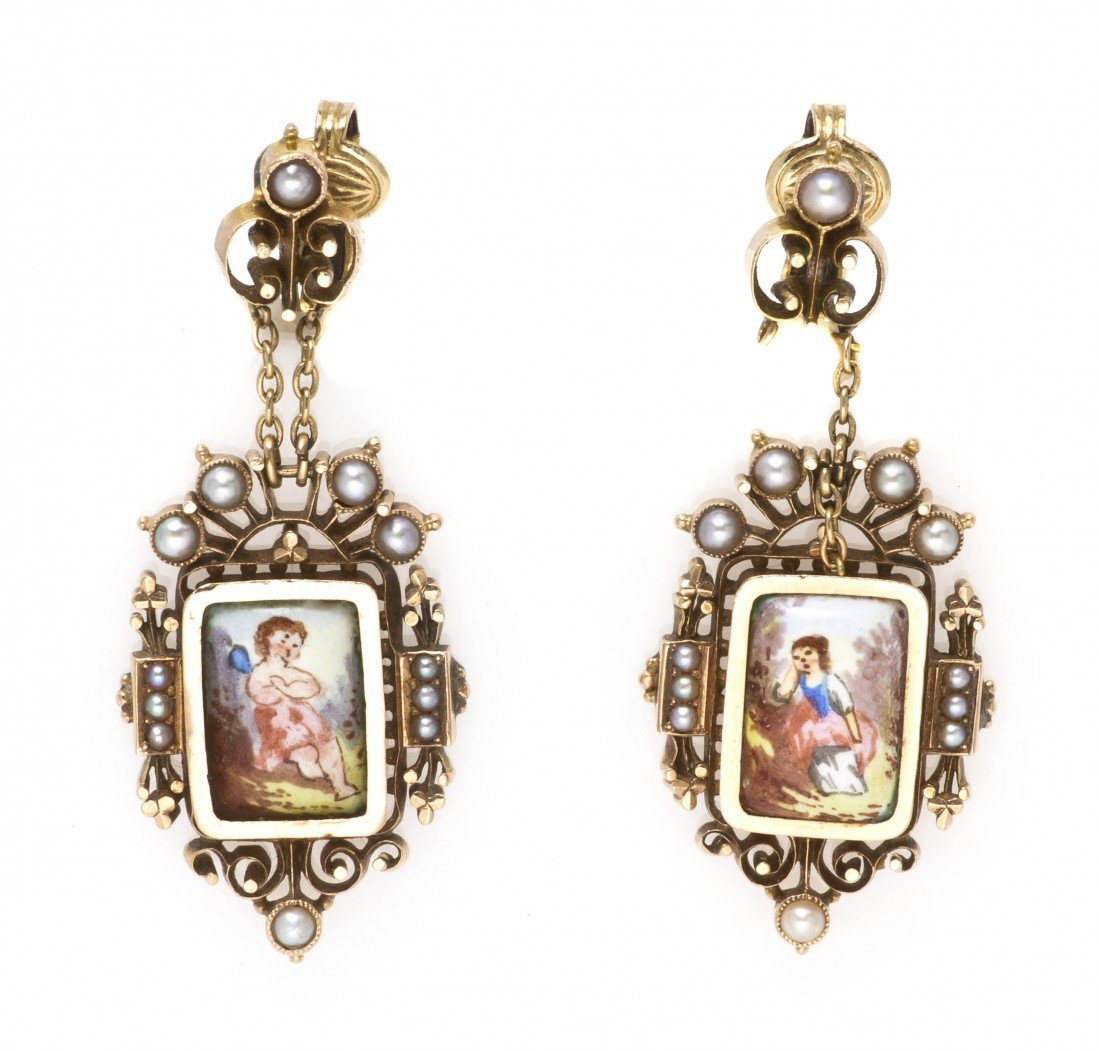 2: A Pair of Victorian Yellow Gold, Split Pearl and Por
