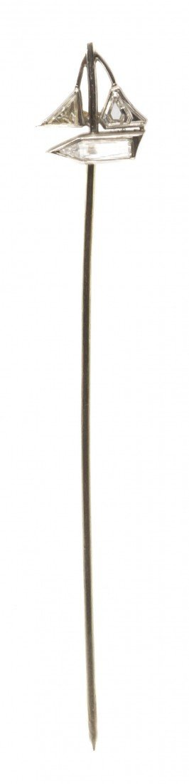 5: A White Gold and Diamond Sailboat Stickpin, 1.70 dwt
