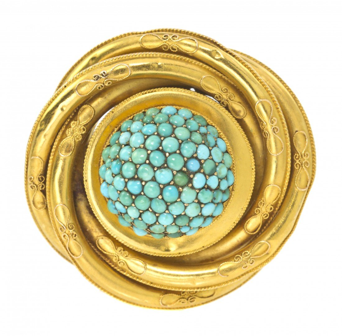 8: A Victorian Yellow Gold and Turquoise Brooch, 13.65