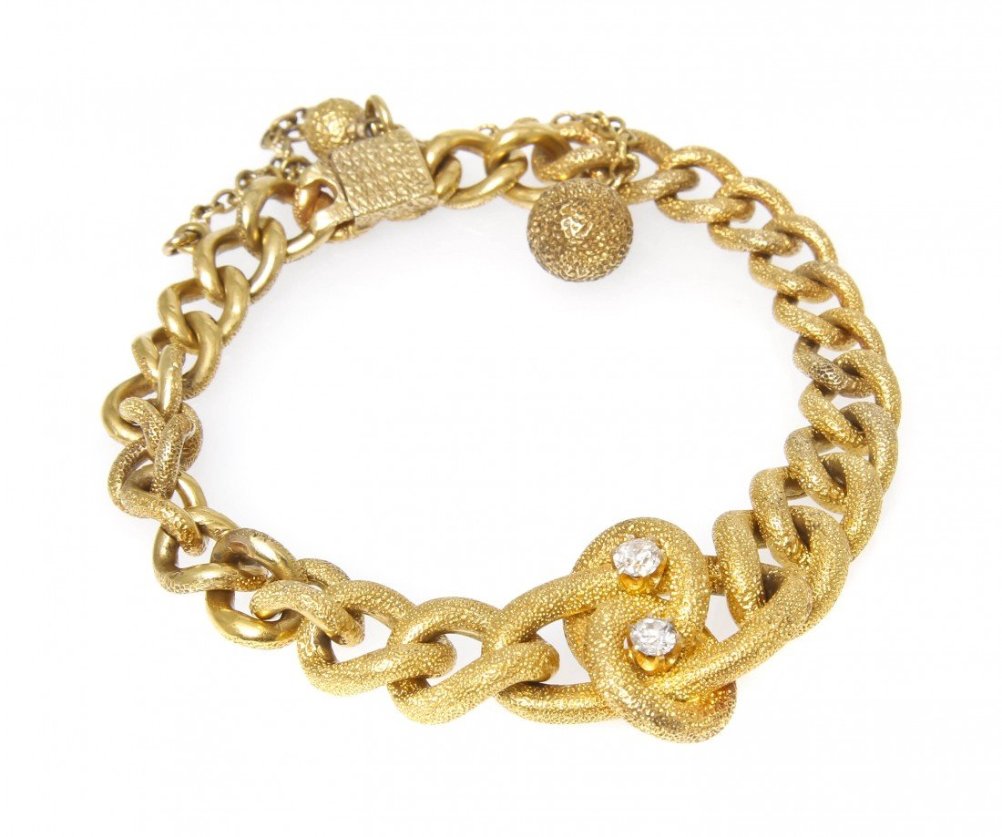 10: A Victorian Yellow Gold and Diamond Bracelet, 10.70
