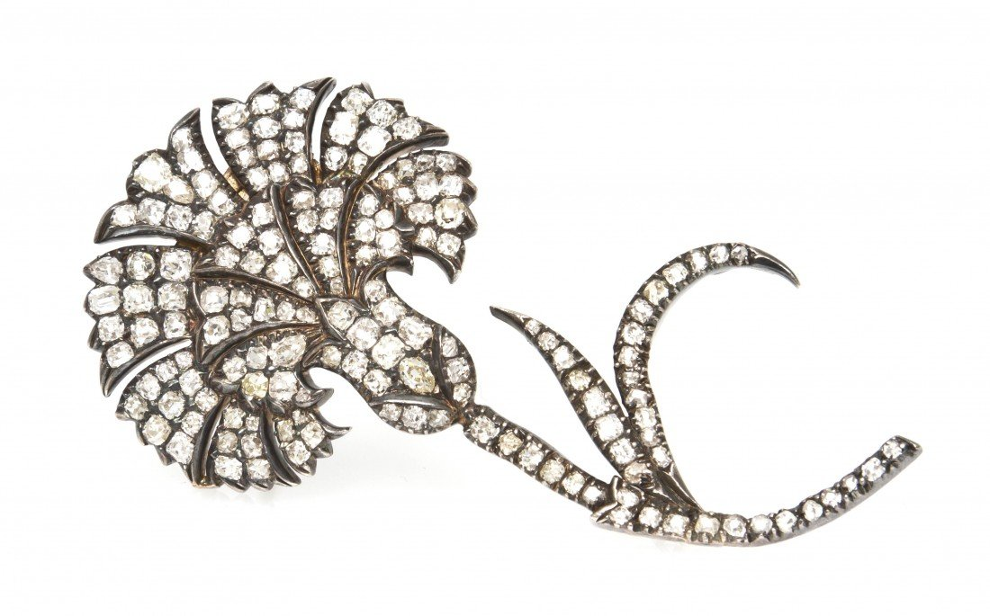 19: A Silver and Diamond Thistle Brooch, 10.10 dwts.