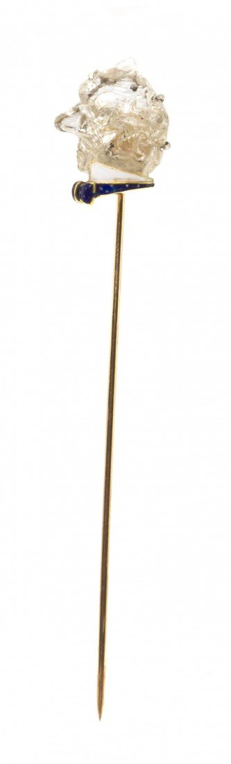 21: A Yellow Gold, Diamond Crystal and Enamel Stickpin,