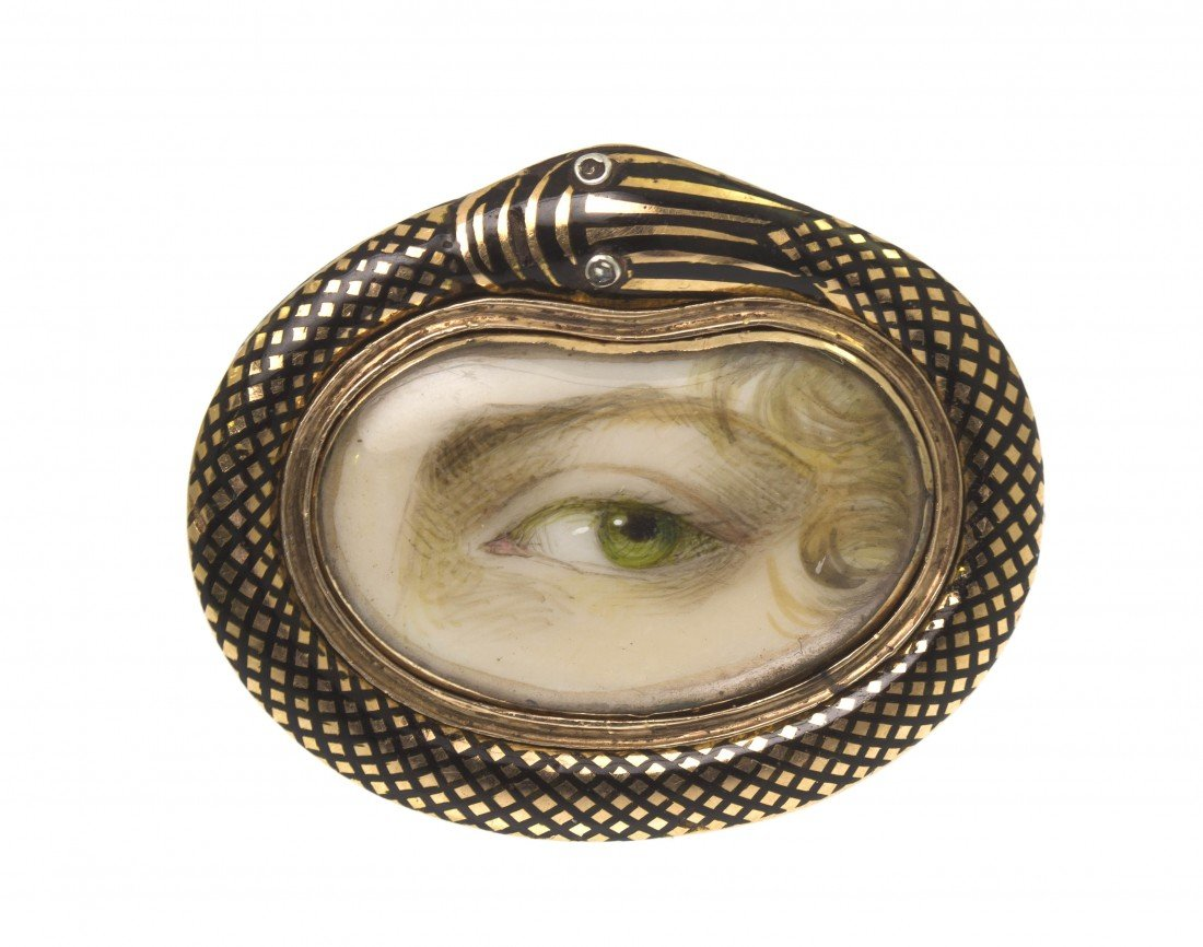 24: A Yellow Gold and Enamel Lover's Eye Brooch, Early